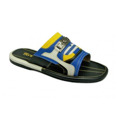รองเท้าแตะ EXSKF-01 หนังนิ่มฟ้า-นิ่มดำ-ครีมขาวL-ผ้าเหลือง * LIMITED