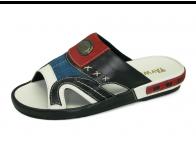รองเท้าแตะ EXSKF-80 หนังนิ่มดำ-ขาว-กลับน้ำเงิน-กลับแดง