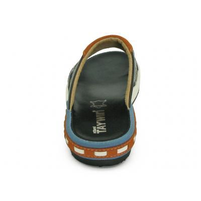 รองเท้าแตะ EXSKF-80 หนังนิ่มดำ-ขาว-กลับฟ้า-กลับส้ม