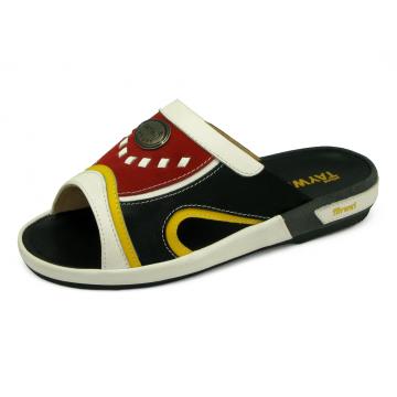 รองเท้าแตะ EXSKF-86 หนังปั่นนิ่มขาว-นิ่มเหลือง-ดำ-กลับแดง