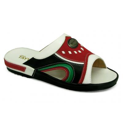 รองเท้าแตะ EXSKF-86 หนังนิ่มขาว-กลับแดง-ดำ-เขียวอ่อน
