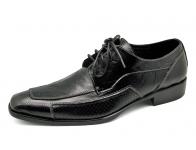 รองเท้าคัทชู HFA-09 หนังยับลายดำขัดดำ-หนังนิ่มดำลายฉลุ