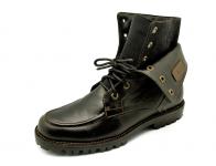 รองเท้าบูท HFD-05 หนังAดำ-ผ้าดำลาย