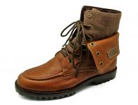 รองเท้าบูท HFD-05 หนังชามัวตาล-ผ้าตาล