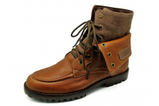 Men Boots HFD-05 Brown Chamois Leather-Brown Fabric