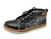 รองเท้าบูท HFD-06 หนังนิ่มดำ-ยับลายดำขัดเทา-ปั่นนิ่มเทา