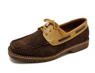 ลด 50% รองเท้าคัทชู HMC-09 หนังกลับตาลแก่/นิ่มเบจ