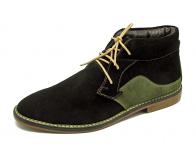 ลด 50% รองเท้าบูท HMM-01 หนังกลับดำ/เขียวขี้ม้า