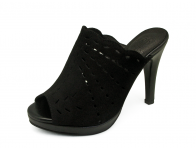 รองเท้าแตะส้นสูง HSC-02 หนังกลับดำ-นิ่มดำ
