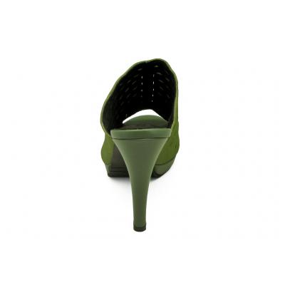 รองเท้าแตะส้นสูง HSC-02 หนังกลับเขียว-นิ่มขี้ม้า