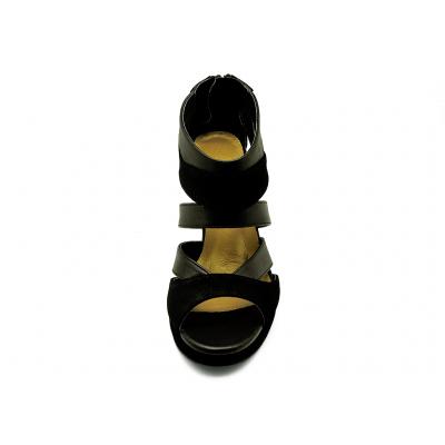 รองเท้าคัทชูส้นสูง HSC-20 หนังกลับดำ-นิ่มดำ