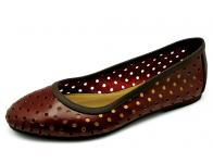 ลด 50% รองเท้าคัทชูส้นเตี้ย HSC-33 หนังSARAแดงลายเจาะกลม-นิ่มตาลแก่