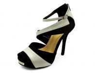 ลด 50% รองเท้าคัทชูส้นสูง HSC-49 หนังกลับดำ-นิ่มครีมขาว