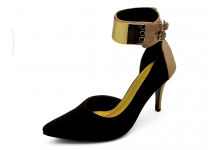 Women Courts High Heel HSC-62 Black Suede-Coral Nappa