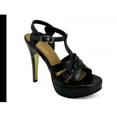 รองเท้าแตะส้นสูง HSC-63 หนังนิ่มดำ