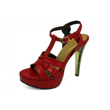 รองเท้าแตะส้นสูง HSC-63 หนังนิ่มแดง