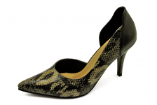 Women Courts High Heel HSC-65 Imported black-cream snake skin pattern printed leather-Black nappa