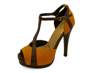 รองเท้าคัทชูส้นสูง HSC-66 หนังกลับเหลือง-นิ่มตาลอ่อน