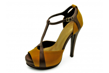 Women Courts High Heel HSC-66 Yellow Suede-Brown Nappa