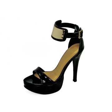 รองเท้าแตะส้นสูง HSC-69 หนังแกะแก้วดำนอก