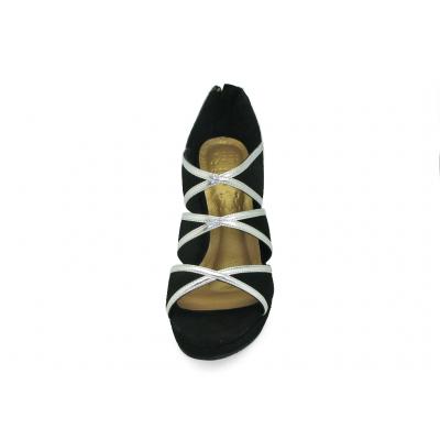 รองเท้าคัทชูส้นสูง HSC-70 หนังกลับดำ-ยับลายเงิน