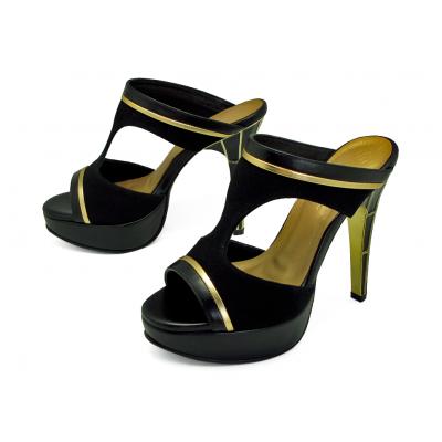 รองเท้าแตะส้นสูง HSC-73 หนังกลับดำ-นิ่มดำ-ยับลายทอง
