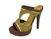 รองเท้าแตะส้นสูง HSC-73 หนังเหลืองลายดอกสาน-นิ่มตาล-ยับลายทอง