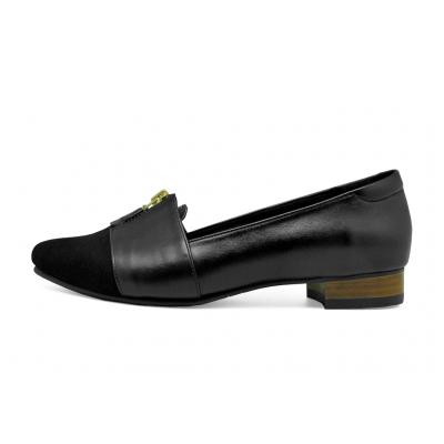รองเท้าคัทชูส้นเตี้ย HSC-74 หนังกลับดำ-นิ่มดำ