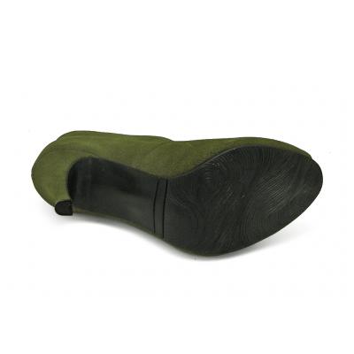 รองเท้าคัทชูส้นสูง HSC-77 หนังกลับเขียวขี้ม้า