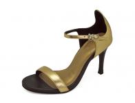 ลด 50% รองเท้าแตะส้นสูง HSC-78 หนังยับลายทอง
