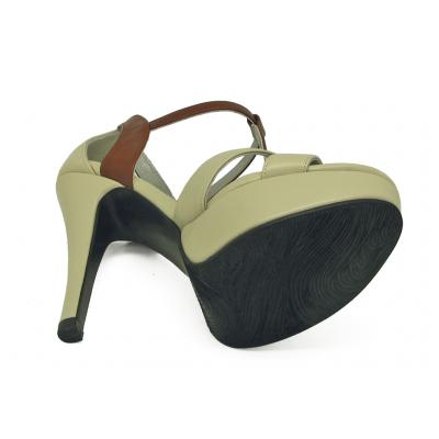 รองเท้าคัทชูส้นสูง HSC-84 หนังนิ่มครีมอ่อน-นิ่มตาล