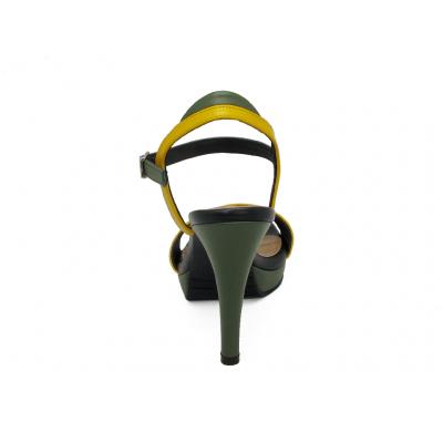 รองเท้าแตะส้นสูง HSC-85 หนังนิ่มเหลือง-นิ่มเขียวขี้ม้า-นิ่มดำ