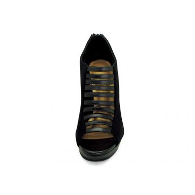 รองเท้าคัทชูส้นสูง HSC-90 หนังกลับดำ-นิ่มดำ