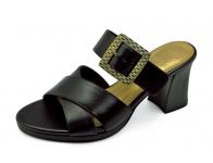 รองเท้าแตะส้นสูง HSC-98 หนังนิ่มดำ