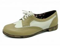 ลด 50% รองเท้าคัทชูส้นเตี้ย HSF-08 หนังนิ่มครีม/ขาว