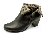 ลด 50% รองเท้าลำลอง,บูท HSF-19 หนังแกะดำ-ชมพูลายเสือนอก
