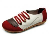 รองเท้าลำลอง HSF-26 หนังกลับแดง-นิ่มตาลแก่-ปั่นนิ่มขาว