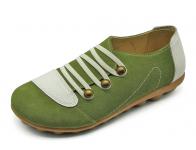 ลด 50% รองเท้าลำลอง HSF-26 หนังกลับเขียว-ปั่นนิ่มขาว