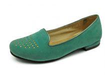 Women Courts Flat HSF-27 Turquoise velvet fabric with metallic light green leather piping