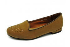 Women Courts Flat HSF-27 Khaki velvet fabric with brown nappa piping