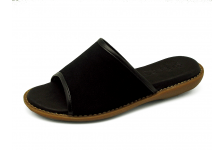 Women Sandals HSJ-16 Black suede with black nappa piping