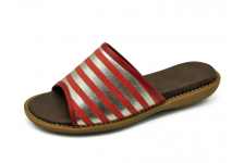 Women Sandals HSJ-16 Imported red leather with printed silver stripes foil-Red nappa piping