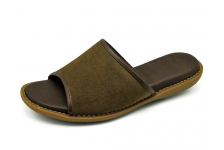 Women Sandals HSJ-16 Khaki suede with brown nappa piping