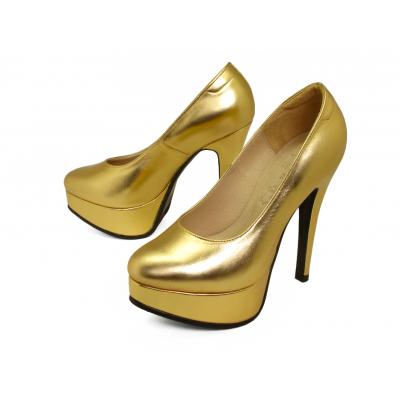 รองเท้าคัทชูส้นสูง HSV-22 หนังยับลายทอง