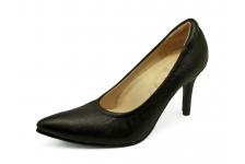 รองเท้าคัทชูส้นสูง HSV-23 หนังแพะปั่นนิ่มดำ
