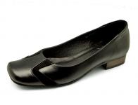 รองเท้าคัทชูส้นเตี้ย LC-27 หนังนิ่มดำ-กลับดำ