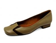 ลด 50% รองเท้าคัทชูส้นเตี้ย LC-27 หนังนิ่มกากีเข้มL-กลับตาล
