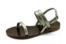 Women Sandals LS-09 Metallic Silver Leather