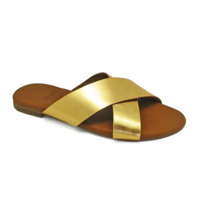 รองเท้าแตะ LS-10 หนังยับลายทอง