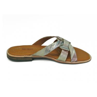 รองเท้าแตะส้นเตี้ย LS-12 หนังPUลายงูสีรุ้ง